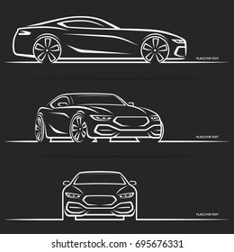 Vector Sports Car Silhouette Side Perspective Stock Vector Royalty