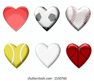 Vector Sports Design Elements in Heart Shape