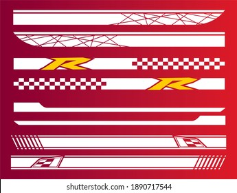 Vector sports stripes for the car, car stripes eps, r design, tuning car decals