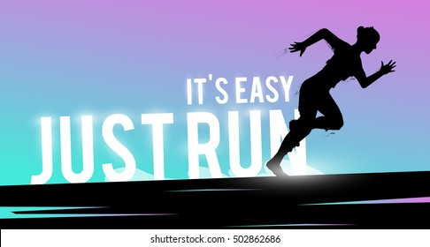 Vector sports web banner. Motivational concept. The silhouette of the biker. Runner silhouette. Running woman. Extreme outdoor sports.