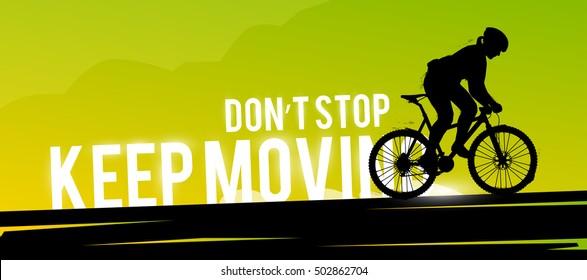 Vector sports web banner. Motivational concept. The silhouette of the biker. Mountain biking. Woman biker. Extreme sports.