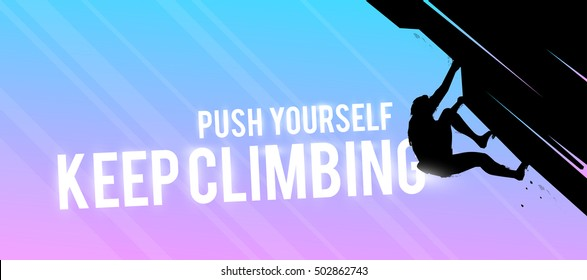Vector sports web banner. Motivational concept. The silhouette of the athlete. The climber climbed the mountain without insurance. Extreme sports. Bouldering.