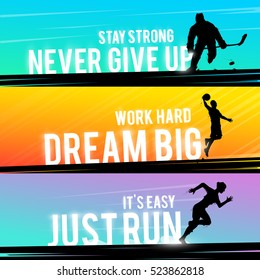 Vector sports web banner. Motivational concept. The silhouette of the hockey player. Runner silhouette. Running woman. The silhouette of the basketball player. Outdoor sports.