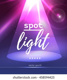 Vector spot light illustration. Abstract colorful picture with soft light ray and text place. Glowing flare, lighting effects. Background for banner, poster, leaflet, business card.
