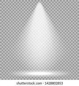 Vector spotlight. Bright light beam. Transparent realistic effect. Stage lighting.