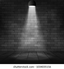 Vector spotlight illuminated scene and brick wall. Glow effect background. Stage decoration with floodlight lamp.