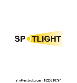 Vector spotlight inscription logo. Black and yellow searchlight lettering. Minimal floodlight mark with negative space isolated on white background