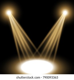 Vector spotlight, light effect isolated on black background, golden color