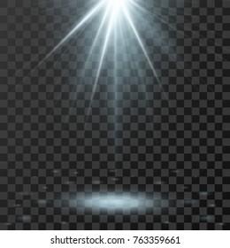 Vector spotlight. Light effect on transparent background. vector illustration.
