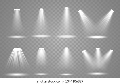 Vector spotlight. Light effect.Glow isolated white transparent light effect. Abstract special effect element design.