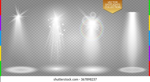 Vector spotlight ray special light effect collection. Illuminated scene set on transparent background. Starlight beam and spark