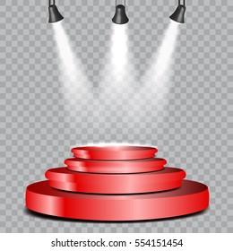 vector spotlight red podium presentation transparent stock vector