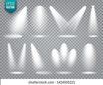 Vector spotlight set. Bright light beam. Transparent realistic effect. Stage lighting.