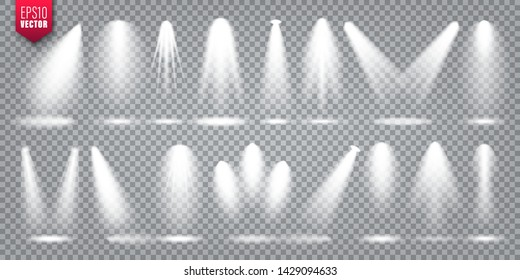 Vector spotlight set. Bright light beam. Transparent realistic effect. Stage lighting.