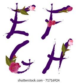 Vector spring alphabet with gentle sakura flowers letters E,F,G,H