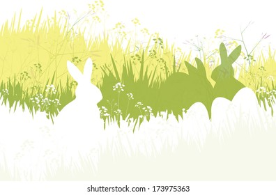 Vector spring background, rabbits and eggs in grass.