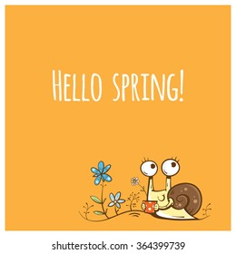 Vector spring card with cute cartoon snail and flowers.