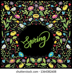 Vector Spring Card, And Valentines Day Greeting Card. Abstract Love Illustration With Flowers and Hearts. Lettering Spring