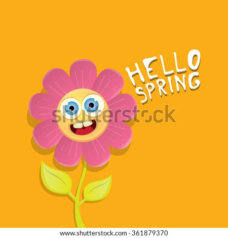 Vector Spring Cartoon Flowers On Orange Stock Vector Royalty Free