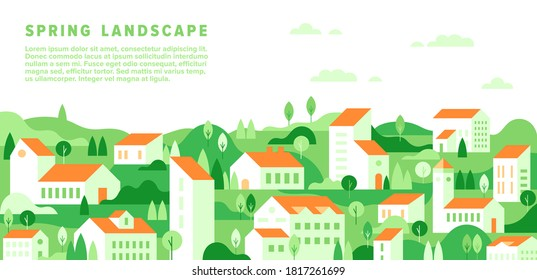 Vector spring cityscape in simple minimal geometric flat style. Horizontal spring summer landscape with buildings, house, tree, hill, field. City building houses view illustration. Minimal cityscape