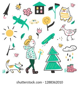 Vector spring collection of pictures depicting a boy and his things, flowers, birds and animals.