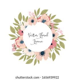 Vector Spring Floral Botanical Frame Wreath