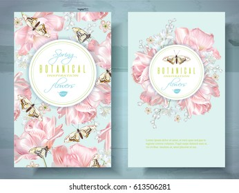 Vector spring flower banners with pink tulips and butterflies. Elegant tender design for natural cosmetics, perfume, beauty shop. With place for text.Can be used as greeting card or wedding invitation