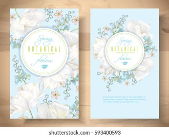Vector spring flower banners with white tulips on blue background. Elegant tender design for natural cosmetics, perfume. With place for text. Can be used as greeting card or wedding invitation