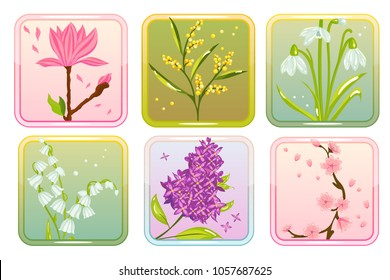 Vector Spring flower set with lilac, lily of the valey, snowdrop, sakura, mimosa, and magnolia isolatedon white background. Perfect for game and app icons devoted to floral topic