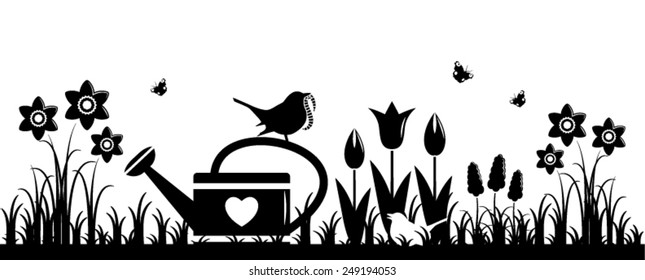 vector spring flowers, watering can and mother bird bringing worm isolated on white background
