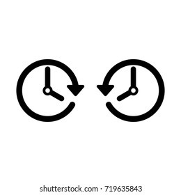 Vector spring forward and fall back icon. Change time. Adjust time. Set time. Future and Past.
