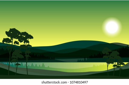 vector spring lake landscape. forest and tree silhouettes, hills and bright sun illustration