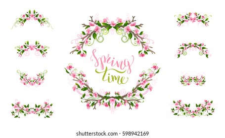 Vector spring page decorations and dividers. Ornament of flowers, leaves and flourishes on tree branches. Cherry pink blossoms. Isolated on white background.