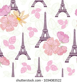 Vector Spring Purple Pink Eifel Tower Paris and Roses Flowers Seamless Repeat Pattern Surrounded By St Valentines Day Hearts Of Love. Perfect for travel themed postcards, greeting cards, wedding