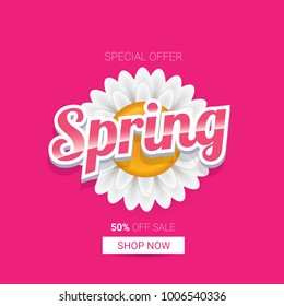 vector spring sale design template banner or tag on pink background. Abstract spring sale pink label or background with beautiful flowers and text.