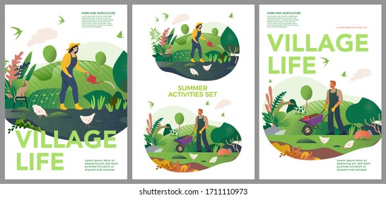 Vector spring and summer posters set. Happy Spring and summer. Farm and agriculture. Vector cute illustrations of village life and objects for poster, banner or postcard.