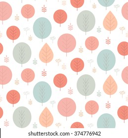 Vector spring trees seamless pattern background.
