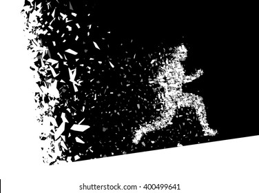 Vector sprinter. Breakthrough. Particles composed runner. Running man abstract silhouette.
