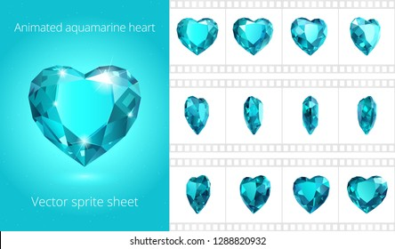 Vector sprite sheet of rotating aquamarine heart. Looped animation of sea blue crystal Valentine. 12 frames per second. Fine sequence for GIF, flash and HTML animation. Set of jewels. Isolated clipart