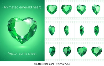 Vector sprite sheet of rotating emerald heart. Realistic animation of green crystal Valentine. 12 frames per second. Looped sequence for GIF, flash and HTML animation. Set of jewels. Isolated clipart