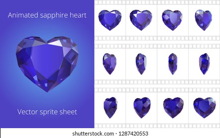 Vector sprite sheet of rotating sapphire heart. Looped animation of blue crystal Valentine. 12 frames per second. Refined sequence for GIF, flash and HTML animation. Set of jewels. Isolated clipart.