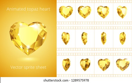 Vector sprite sheet of rotating topaz heart. Realistic animation of yellow crystal Valentine. 12 frames per second. Looped sequence for GIF, flash and HTML animation. Set of jewels. Isolated clipart