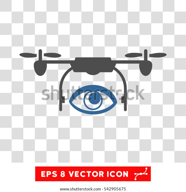 Vector Spy Drone EPS vector icon. Illustration style is flat iconic bicolor cobalt and gray symbol on a transparent background.