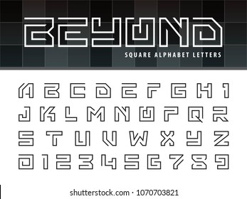 Vector of Square Alphabet Letters and numbers, One linear stylized rounded fonts, One single line for each letter, Thin Letters set for sci-fi, military. universal, Branding & Identity.