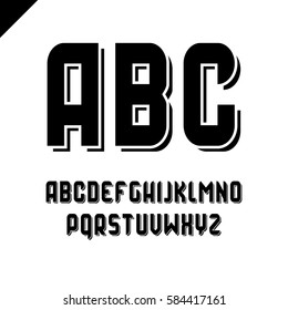 Vector square alphabet simple sport font and letter set black color with outline stroke