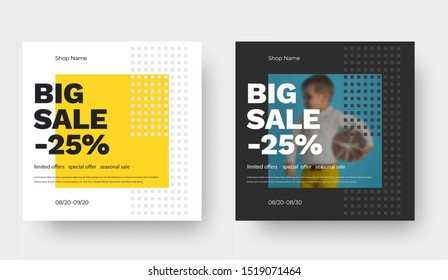 Vector square banner design for big sale with yellow abstract pattern and baby photo. Template with 25% discount for social media and mobile application.