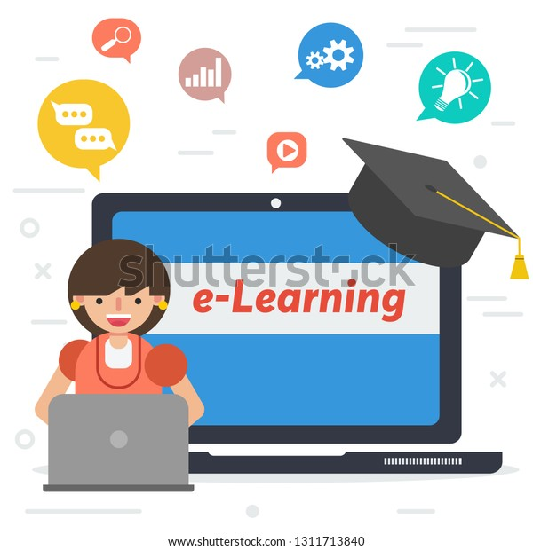 Vector Square Banner Distance Education Elearning Stock Vector Royalty Free 1311713840