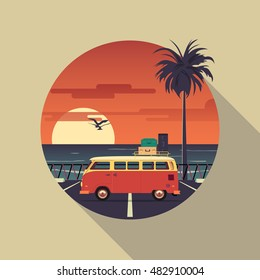 Vector square banner on the theme of summer vacation on beach featuring retro car with birds  and palm silhouette