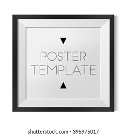 Vector square blank poster template with black frame for you design. Best for mock-up.