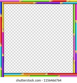 Vector square border made of multicolored wooden pencils isolated on transparent background. Back to school framework bordering template concept or photo frame with empty copy space for text or image